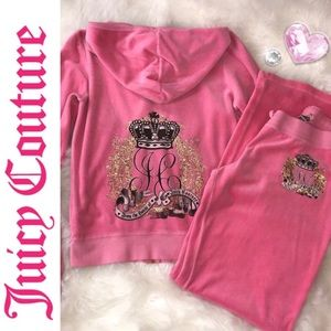 💯Auth Juicy Couture 2pc Pink Velour set